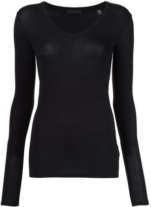 ATM Anthony Thomas Melillo Modal Rib Long Sleeve V Neck Tee
