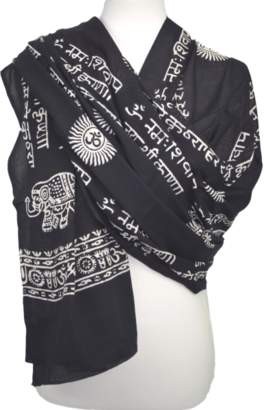 Omsutra Karma Mantra Prayer Shawl With Elephant Print