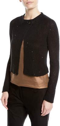 Brunello Cucinelli Paillette Knit One-Button Sweater