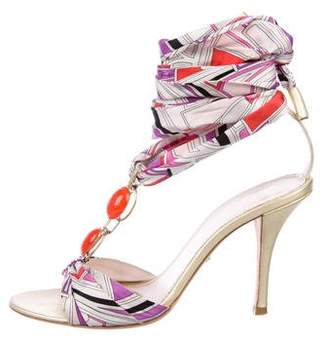 Emilio Pucci Satin Lace-Up Sandals