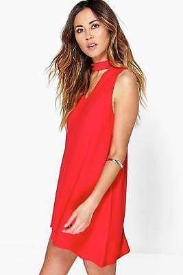 Damen Aria Etuikleid mit tiefem Ausschnitt und Kropfband in Rot größe 38