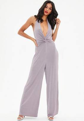Missguided Knot Front Halter Wide Leg Playsuit