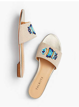 Talbots Keri Novelty Slide Sandals - Fish Motif
