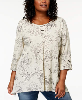 JM Collection Plus-Size Printed Pleated Top, Created for Macy's