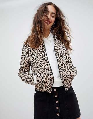 Stradivarius leopard print bomber jacket