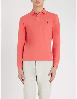 Polo Ralph Lauren Logo-embroidered long-sleeved cotton-piqué polo shirt