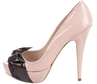 70186571169 Miu Miu Black Peep Toe Pumps - ShopStyle