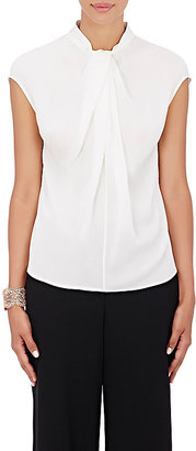 Giorgio Armani Women's Silk Twist-Neck Blouse-WHITE $899 thestylecure.com