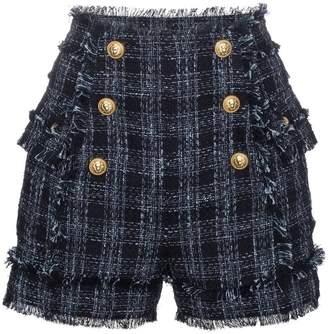 Balmain Tweed High-Waisted Shorts