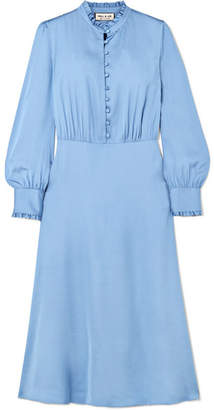 Paul & Joe Ruffle-trimmed Satin Midi Dress - Blue
