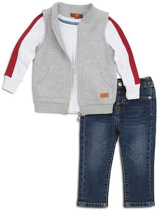 7 For All Mankind Boys' Sleeveless Zip-Up Sweater, Striped Tee & Jeans Set - Little Kid