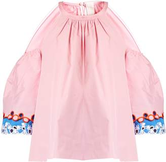 Peter Pilotto Embroidered-cuff cut-out shoulder top