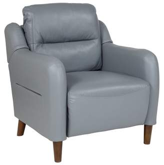 Newton Hill Flash Furniture Upholstered Bustle Back Arm Chair in Gray Leather