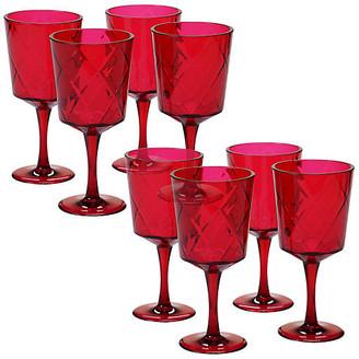 One Kings Lane Set of 8 Drazen Acrylic Goblet Set - Ruby