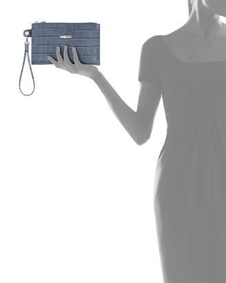 Longchamp Roseau Croco Leather Wristlet Wallet