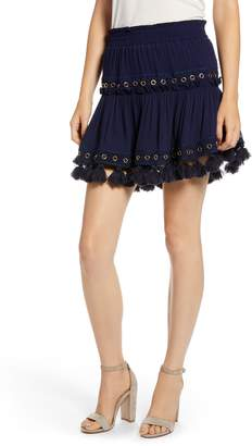 MISA LOS ANGELES Marcella Fringe Trim Skirt