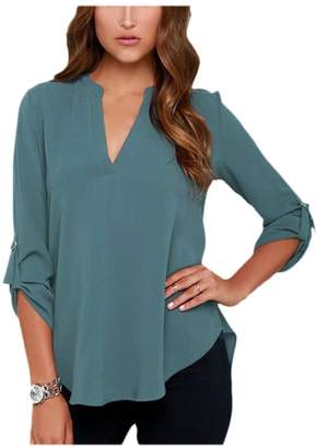 Zamtapary Women Casual Cuffed Sleeve V Neck Loose Plus Size T-Shirt Blouses Tee Top 4XL