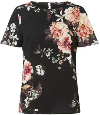 Dorothy Perkins Womens Black Floral Zip Soft Top