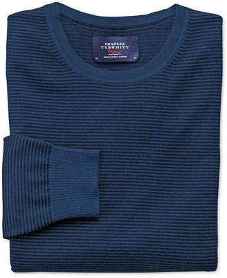 Charles Tyrwhitt Navy and Blue Merino Wool Crew Neck Sweater Size Large