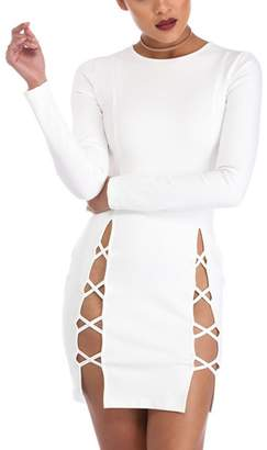 Mupoduvos Women Hot Long Sleeves Lace Up Bandage Hollow Out Bodycon Dress S