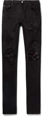 Amiri Mx1 Skinny-Fit Bandana-Panelled Distressed Stretch-Denim Jeans