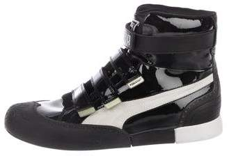 Puma by Mihara Patent-Leather High-Top Sneakers