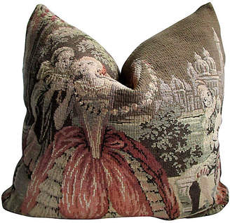 One Kings Lane Vintage 19th-C.French Old World Tapestry Pillow - AntiqueLifestyle