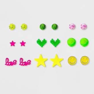 Cat & Jack Girls' 9pk Smiley & Pixelated Heart Earrings One Size