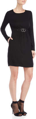 Love Moschino Heart Accent Long Sleeve Dress