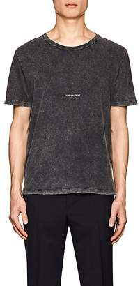 Saint Laurent Men's Logo Acid-Washed Cotton T-Shirt