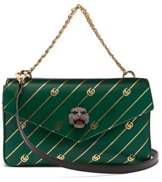 Gucci Thiara Gg Tiger Head Bag - Womens - Black Green