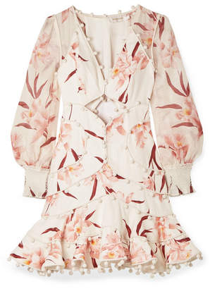Zimmermann Corsage Pompom-embellished Cutout Floral-print Linen Mini Dress - Ivory