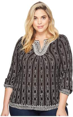 Lucky Brand Plus Size Embroidered Top Women's Long Sleeve Pullover