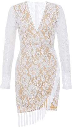 Quiz Cream Lace Long Sleeve Tassle Dress