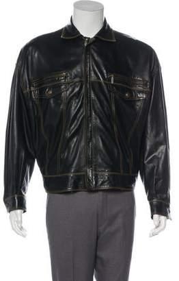 d6b16ddaee Versace Leather Jacket Mens - ShopStyle