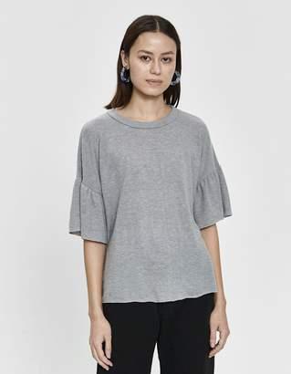 Stelen Izabela Flutter Sleeve Knit Tee in Grey