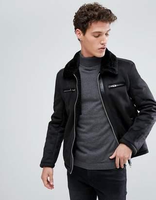 Brave Soul Suedette Jacket with Faux Fur Collar