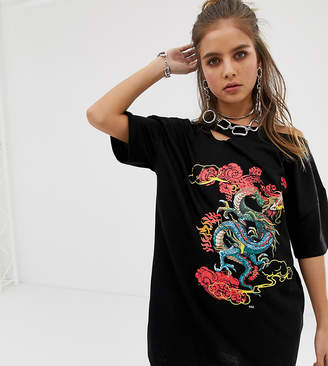 Dragon Optical One Above Another oversized t-shirt dress with distressing with print