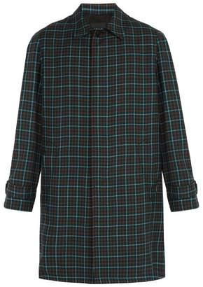 Prada Single Breasted Check Wool Overcoat - Mens - Green Multi