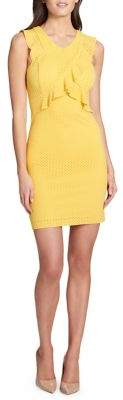 GUESS Perforated Cross-Neck Dress