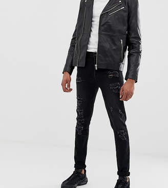 Asos Design DESIGN Tall tapered jeans in 12.5oz in washed black with heavy rips