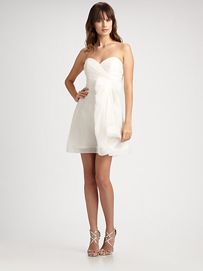 ABS by Allen Schwartz Organza Strapless Sweetheart Mini Dress