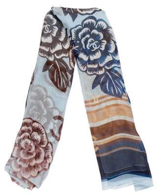 Chanel CC Camellia Silk Chiffon Stole Blue CC Camellia Silk Chiffon Stole