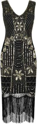 PrettyGuide Women's 1920s Gatsby Sequin Art Deco Fringed Cocktail Flapper Dress S