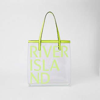 River Island Neon green perspex RI beach bag