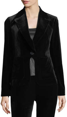 Diane von Furstenberg Flynn Single-Button Velvet Blazer