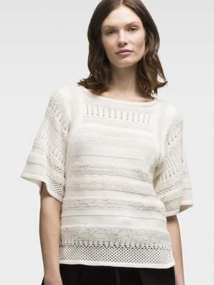 DKNY Mixed Knit Short Sleeve Pullover