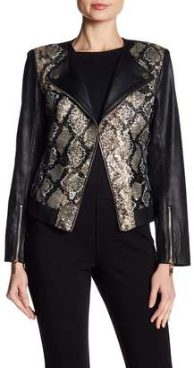 Insight Snake Patterned Sequin Faux Leather Moto Jacket
