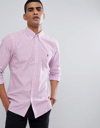 Polo Ralph Lauren Stripe Slim Fit Poplin Shirt Polo Player In Pink