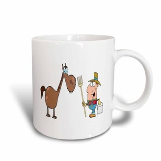 3dRose Funny Farmer With Horse, Ceramic Mug, 15-ounce